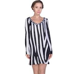 Skin4 Black Marble & White Linen Long Sleeve Nightdress