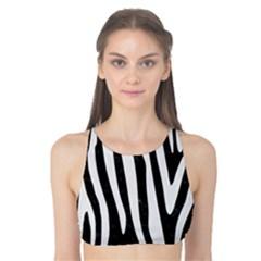 Skin4 Black Marble & White Linen Tank Bikini Top