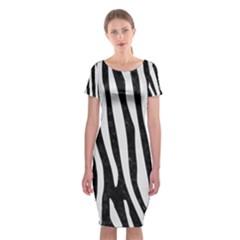 Skin4 Black Marble & White Linen Classic Short Sleeve Midi Dress