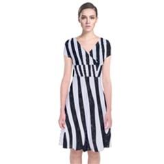 Skin4 Black Marble & White Linen Short Sleeve Front Wrap Dress