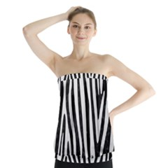 Skin4 Black Marble & White Linen Strapless Top