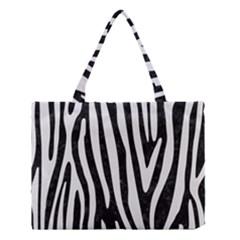 Skin4 Black Marble & White Linen Medium Tote Bag
