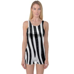 Skin4 Black Marble & White Linen (r) One Piece Boyleg Swimsuit