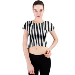 Skin4 Black Marble & White Linen (r) Crew Neck Crop Top