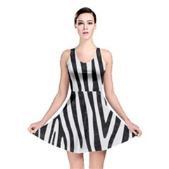 Skin4 Black Marble & White Linen (r) Reversible Skater Dress