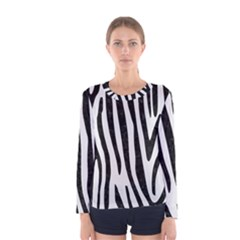 Skin4 Black Marble & White Linen (r) Women s Long Sleeve Tee