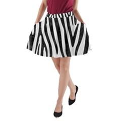 Skin4 Black Marble & White Linen (r) A Line Pocket Skirt