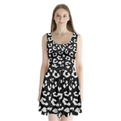 Skin5 Black Marble & White Linen Split Back Mini Dress