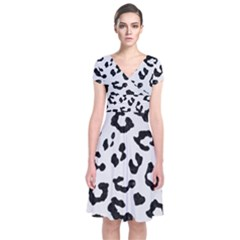 Skin5 Black Marble & White Linen (r) Short Sleeve Front Wrap Dress