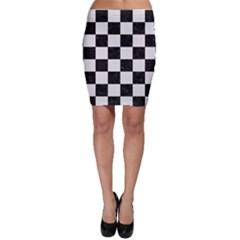 Square1 Black Marble & White Linen Bodycon Skirt