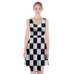 Square1 Black Marble & White Linen Racerback Midi Dress