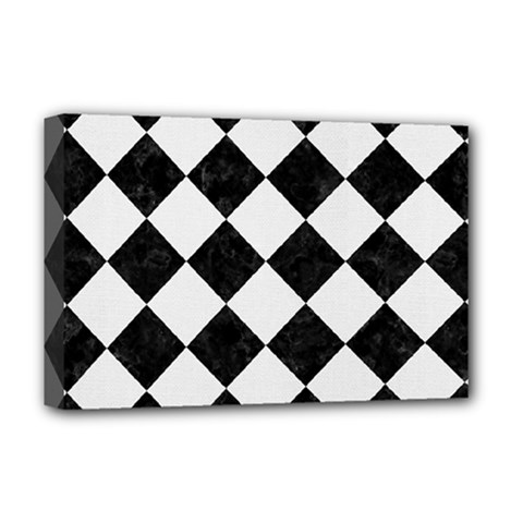 Square2 Black Marble & White Linen Deluxe Canvas 18  X 12