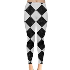 Square2 Black Marble & White Linen Leggings