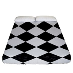 Square2 Black Marble & White Linen Fitted Sheet (king Size)