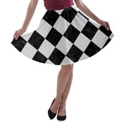 Square2 Black Marble & White Linen A Line Skater Skirt
