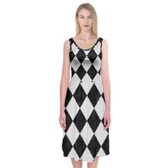 Square2 Black Marble & White Linen Midi Sleeveless Dress