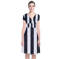 Stripes1 Black Marble & White Linen Short Sleeve Front Wrap Dress