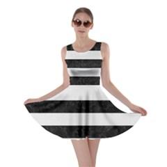 Stripes2 Black Marble & White Linen Skater Dress
