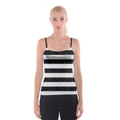 Stripes2 Black Marble & White Linen Spaghetti Strap Top