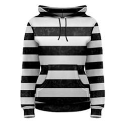 Stripes2 Black Marble & White Linen Women s Pullover Hoodie
