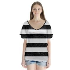 Stripes2 Black Marble & White Linen V Neck Flutter Sleeve Top