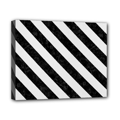 Stripes3 Black Marble & White Linen Canvas 10  X 8