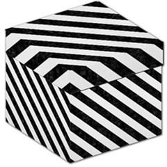 Stripes3 Black Marble & White Linen Storage Stool 12