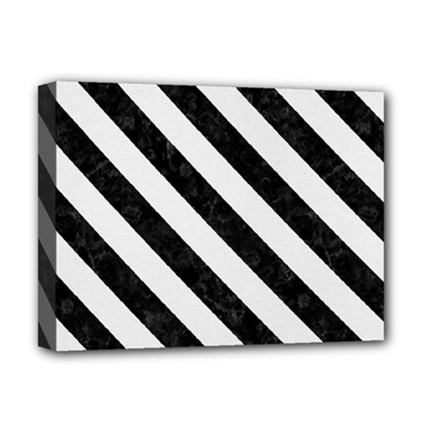 Stripes3 Black Marble & White Linen Deluxe Canvas 16  X 12