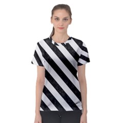 Stripes3 Black Marble & White Linen Women s Sport Mesh Tee