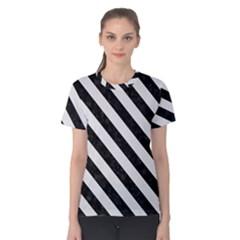 Stripes3 Black Marble & White Linen Women s Cotton Tee