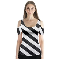 Stripes3 Black Marble & White Linen Butterfly Sleeve Cutout Tee