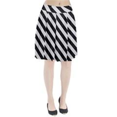 Stripes3 Black Marble & White Linen Pleated Skirt