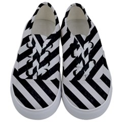 Stripes3 Black Marble & White Linen Kids  Classic Low Top Sneakers