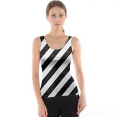 Stripes3 Black Marble & White Linen (r) Tank Top