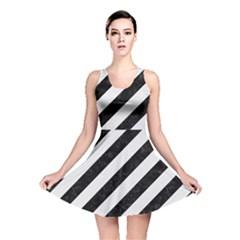 Stripes3 Black Marble & White Linen (r) Reversible Skater Dress