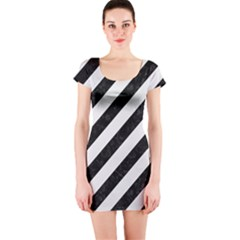 Stripes3 Black Marble & White Linen (r) Short Sleeve Bodycon Dress