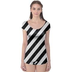 Stripes3 Black Marble & White Linen (r) Boyleg Leotard