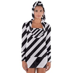 Stripes3 Black Marble & White Linen (r) Long Sleeve Hooded T Shirt