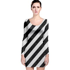 Stripes3 Black Marble & White Linen (r) Long Sleeve Velvet Bodycon Dress