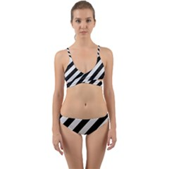 Stripes3 Black Marble & White Linen (r) Wrap Around Bikini Set