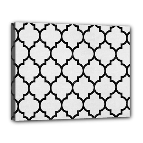 Tile1 Black Marble & White Linen Canvas 14  X 11