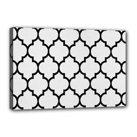 Tile1 Black Marble & White Linen Canvas 18  X 12