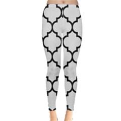 Tile1 Black Marble & White Linen Leggings