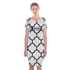 Tile1 Black Marble & White Linen Classic Short Sleeve Midi Dress