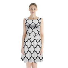 Tile1 Black Marble & White Linen Sleeveless Waist Tie Chiffon Dress