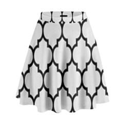 Tile1 Black Marble & White Linen High Waist Skirt