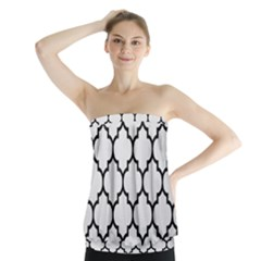 Tile1 Black Marble & White Linen Strapless Top