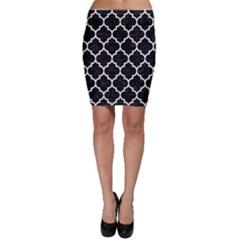 Tile1 Black Marble & White Linen (r) Bodycon Skirt