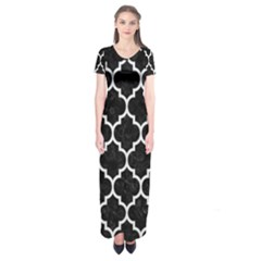 Tile1 Black Marble & White Linen (r) Short Sleeve Maxi Dress
