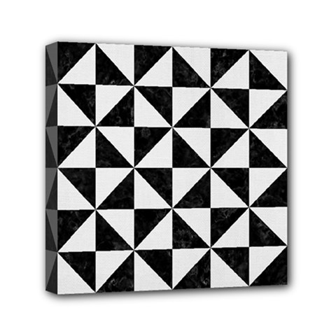 Triangle1 Black Marble & White Linen Mini Canvas 6  X 6